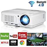 3600 Lumens Home Wireless Bluetooth LCD Video Projectors Android 6.0 WXGA LED Smart TV Projector Full HD 1080P Support Multimedia HDMI VGA RCA Audio USB AV for Gaming Movies Holiday Party Art Work