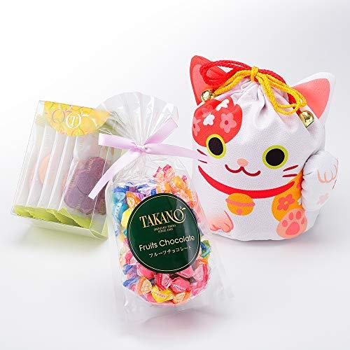 新宿高野 招き猫巾着袋E 洋菓子 ギフト スイーツ セット (フルーツチョコ /果実サブレ) ホワイト