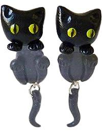 [イミテーションゴールド]ImitationGOLD ピアス 黒猫 幸運 揺れる 黒 ネコ ハリウッド セレブ コレクション 《 ギフト バック付 》 【並行輸入品】