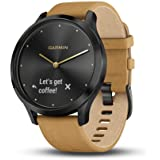 Garmin vivomove HR, Hybrid Smartwatch for Men and Women, Onyx Black with Light Tan Suede Band