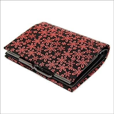 印傳屋 印伝 がま口 1602 雪割草(黒×ピンク) レディース ( 女性用 ) 財布 二つ折財布 ( 二つ折り財布 ) 札入れ 日本製 和風 和柄 通販 ギフトに。 雪割草(黒×ピンク)