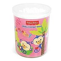 フィッシャープライス 細軸 &スパイラル綿棒 180本入り 色はランダムで発送 (ピンク) [並行輸入品]