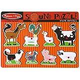 Melissa & Doug Farm Animals Sound Puzzle - Wooden Peg Puzzle with Sound Effects (8 pcs)