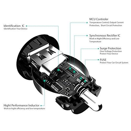 AUKEY シガーソケットチャージャー USBカーチャージャー スマホ充電器 超小型 急速 USB2ポート 4.8A/24W iPhone 7 / iPhone 7 Plus / iPhone6s / 6s Plus / 6 / 6 Plus / iPad / iPod / Android / Galaxy S6 / S6 Edgeなど対応 (ブラック) CC-S1