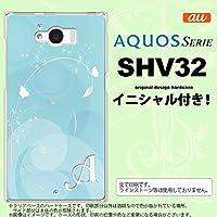 SHV32 スマホケース AQUOS SERIE カバー アクオス セリエ イニシャル バタフライ・蝶(A) 青 nk-shv32-203ini V