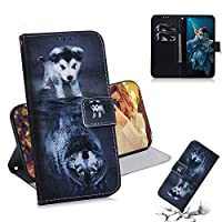 For Huawei Honor 20 Pro Wallet ケース, Abtory PU Leather Flip Folio Carrying Magnetic Closure Protective Shell Wallet ケース Cover for Huawei Honor 20 Pro with Kickstand Stand Dog