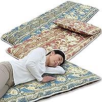メーカー直販 ごろ寝長座布団 70×185cm 日本製 固わた入り 約2.1kg 高密度生地 綿100% (ブルー)