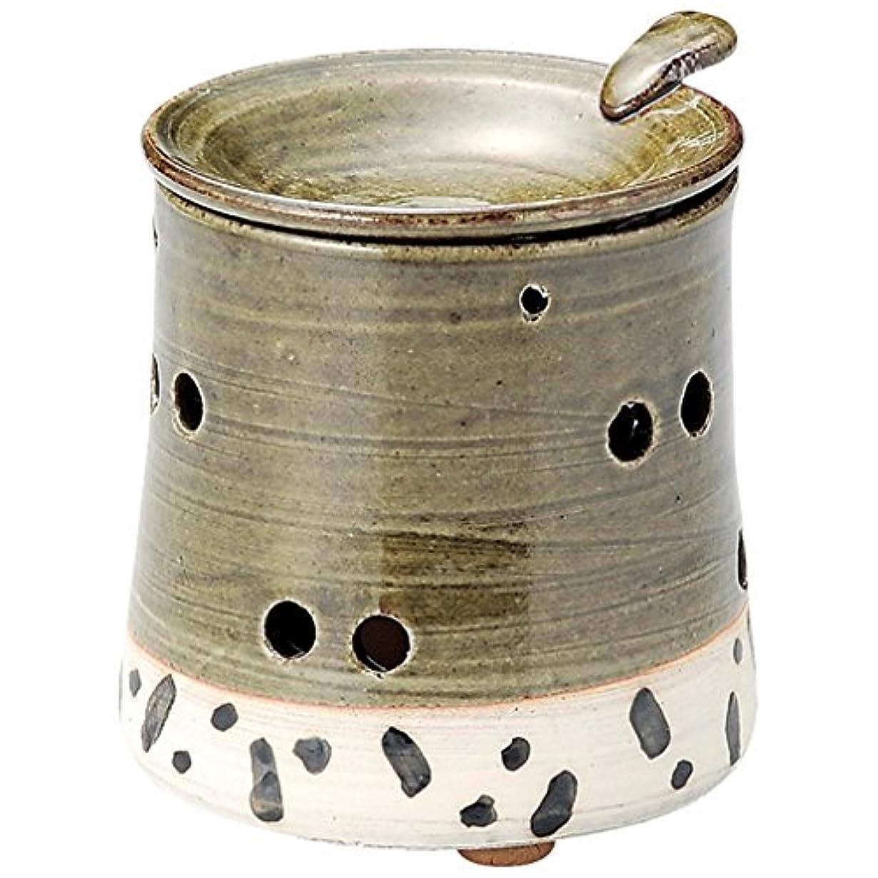 変位百コンデンサー山下工芸 常滑焼 山田織部釉茶香炉 10×9.5×9.5cm 13045680
