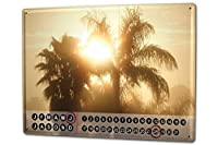カレンダー Perpetual Calendar Plants G. Huber Palm Sun Tin Metal Magnetic