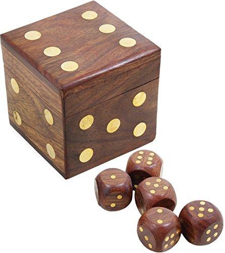 ハンドメイドビンテージ木製Dice Set 5pc With Decorative木製ボックス/誕生日ギフト/骨董品Collectibles /旅行ゲーム( 2.5X 2.5X 2.5インチby Hind Handicrafts