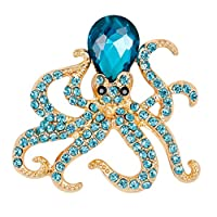 B Blesiya ユニセックス 動物型 タコデザイン クリスタル ブローチ 合金 ラインストーン パーティー 宴会 ジュエル 全4色 - ブルー