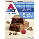 Atkins Chocolate Raspberry Bars | Keto Friendly Bars | 5 x 30g Low Carb Chocolate Bars | Low carb, Low Sugar, High Protein, H