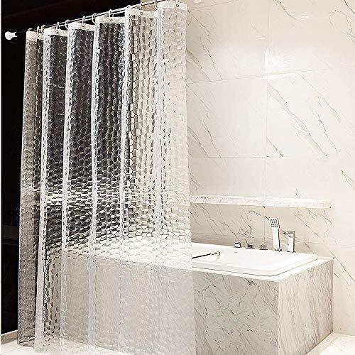 シャワーカーテン透明 150x180 cm 防水 防カビ 浴室カーテン ポリエステル バス仕切り ユニットバスカーテン 目隠し お風呂カーテン カーテンかけ フック付