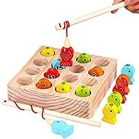 魚釣りおもちゃ さかなつりゲーム 木のおもちゃ 木製玩具 知育玩具 WELCOOL フィッシングゲーム 子供 1歳 2歳 3歳 4歳 誕生日 出産祝い 入園祝い