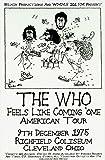The Who - 1975年ライブ レトロアートプリント - ポスターサイズ - レトロ・コンサートポスターの印刷物 - 絵にはロジャー・ダルトレイ、ピート・タウンゼント、ジョン・エンツウィスル、キース・ムーン