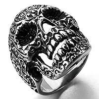 Adisaer 指輪 メンズ 人気 32MM スカル 頭蓋骨 ブラック シルバー リング ステンレス製 パンク バイカー サイズ:26