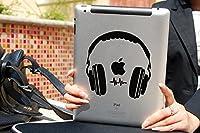 Mac book Air Pro iPad 【ヘッドフォン】 黒 アートステッカー / シール (macbook MacBook Air ipad)