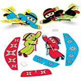 Baker Ross Ninja Gliders (Pack of 8) for Kids Party Bag Fillers and Toys