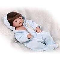 NPKDOLLハードシミュレーションシリコンビニールRebornベビー人形22インチ55 cm Lifelike鮮やかな防水少年少女玩具ブルードレスウィッグ