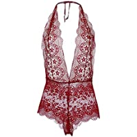 007XIXI Lingerie for Women with Garter and Stockings on Sale,1PC Fashion Women Plus Size Lace Sexy Lingerie Deep V-Neck Jumpsuit Sleepwear