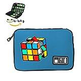 カラフルなルービックキューブ旅行用データケーブル電子アクセサリーバッグジッパー多目的ケース ONE_SIZE ブルー SELECPLUR-HVK-SID
