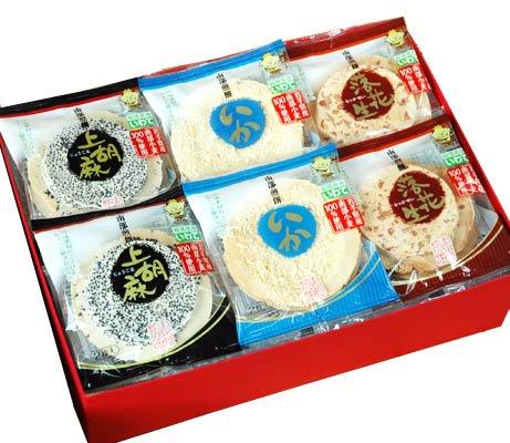 南部煎餅 ごま・落花生・イカ 48枚 ギフト箱入り (ムギおに3種詰め合せ) 志賀煎餅 (4箱)
