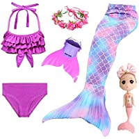 DH68 3pcs NO Fin 140 2020 Children Mermaid Tails for Swimming Mermaid Tail with Monofin Girls Costumes Swimmable Swimsuit with Bikini Flipper