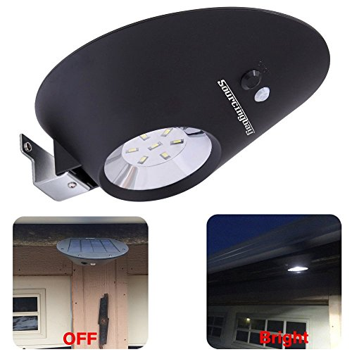 Sourcingbay 3個 ソーラーライト 人感センサー 3つ点灯モード 4400mAh電池付き IP65防水 アウトドア/パティオ/デッキ/庭/庭園/ドライブウェイ周りなどの照明用 ブラック (7 LEDs)