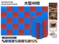 エースパンチ 新しい 40ピースセット青と赤 500 x 500 x 20 mm ウェッジ 東京防音 ポリウレタン 吸音材 アコースティックフォーム AP1035