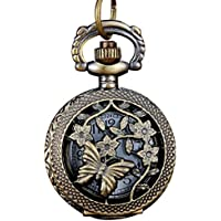 B : Vintage Bronze Tone Spider Web Design Chain Pendant Men's Pocket Watch Pocket Watch Ship #m