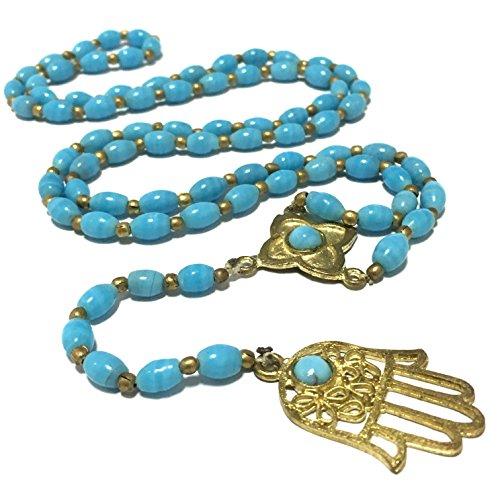 ファティマの手 ハムサの手 ミリアムの手 インド 真鍮 ガラスビーズ ペンダント ネックレス エスニック インドブラス ネックレス ファーティマの目 Asia 3syaku ( サンシャク ) 色 スカイブルー