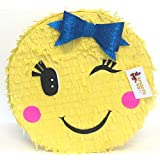 Girly Emoticon with Blue Bow Pinata
