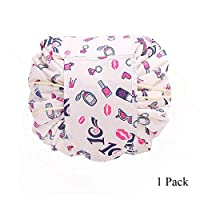 Soundmae Lazy Cosmetic Bag レイジー化粧バッグ Portable Large Capacity Drawstring Makeup Bag Beam Mouth Lazy Makeup Bag Cosmetic Pouch 旅行メイクバッグ Travel Makeup Bag for Women Girls, Lipstick, 1 Pack