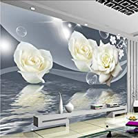 Lcymt 新鮮でエレガントな白いバラの花バブル写真の壁紙リビングルームの背景の壁3D壁画環境に優しい防湿フレスコ画-150X120Cm