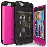 iPhone6sケース,TORU[iPhone6 ケース カード収納 ピンク]ICカード アイフォン6s 手帳 カバ― (ホットピンク)