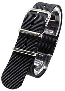 [2PiS] ( シングルブラック : 22mm ) NATO 腕時計ベルト ナイロン 替えバンド ストラップ 交換マニュアル付 17-1-22