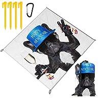 YTREEレジャーシート 犬の楽しいパーティー ピクニックマット防水 携帯便利 150×145cm 2〜6人用カ ラビナ付き