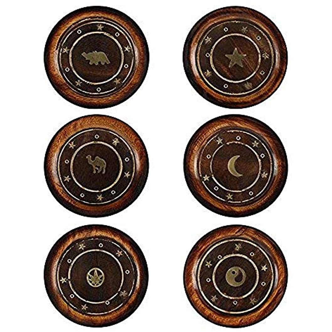 わずらわしいギャザー小数Mangowood Round Plate Incense Holder with Brass Inlay