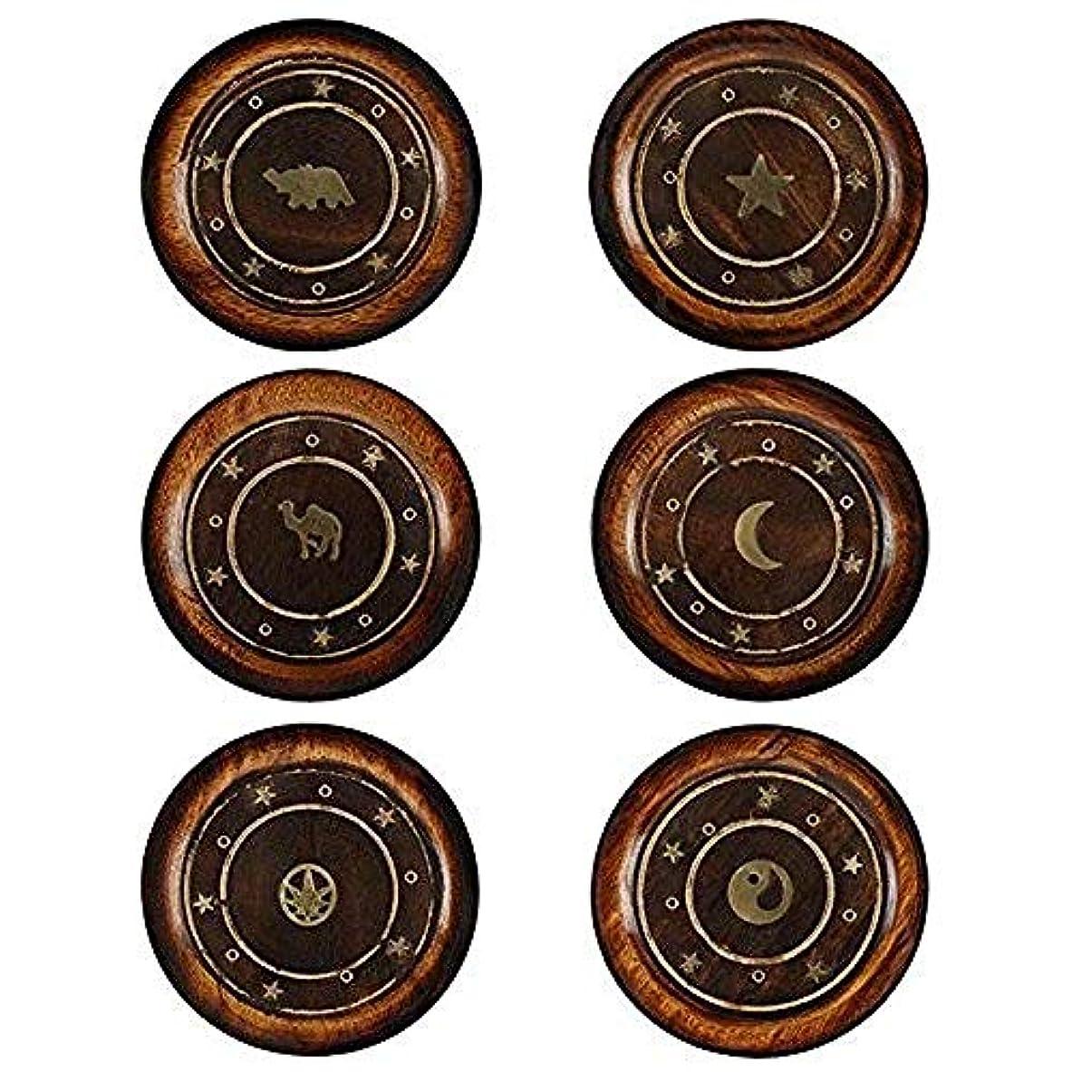 容器自然に賛成Mangowood Round Plate Incense Holder with Brass Inlay