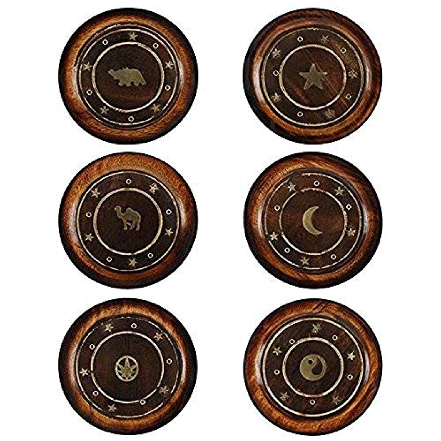 Mangowood Round Plate Incense Holder with Brass Inlay