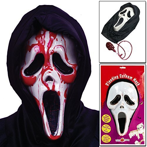 CostMad Halloween Bleeding Scream Mask Screaming Bloody Face Fancy Dress Party Scary Horror Ghost Fake Blood Pump Action Movie Costume One Size by CostMad [並行輸入品] CostMad