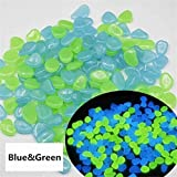 100Pcs Multicolor Luminous Glowing Artificial Pebbles Stone Glow in Dark Aquarium Fish Tank Bonsai Garden Decor Home Ornament : Blue Green
