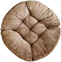 Cherir 無地 座布団 クッション 體圧分散 厚め10cm 丸型 ふわふわ 暖かい 椅子 ソファ 畳み オフィス適用 座り心地いい 5色 圧縮袋付き (ブラウン)
