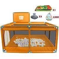 ポータブルベビープレイペン8パネルバスケットボールのフープとボールマットチャイルドボーイズガールズプレイペンルームディバイダーオックスフォードクロス、オレンジ (色 : 200 Balls)