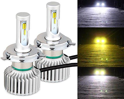 LEDヘッドライト H4 Hi/Lo 3色温度切替 一体式-POOPEE フォグランプ DC12V車用 28W 両面発光 6000k/3000k イエロー・ホワイト切替え 1年保証