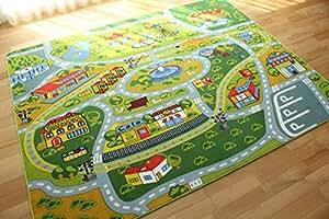 キッズ ラグ 子供 部屋 カーペット ロードマップ 2 約 190х240 cm 約 3畳 丸洗い 折り畳み 可能 ホットカーペットカバー対応