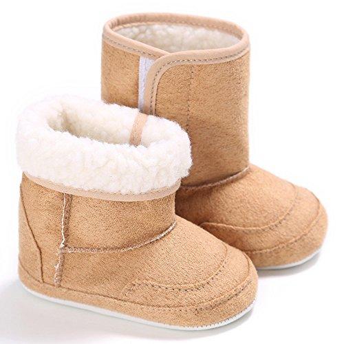 ベビーブーツ キッズ可愛いシューズ 子供赤ちゃん 新生児 女の子男の子 暖かい柔らかい 結婚式 マジックテープ付き 綿 カーキ 12cm 6-12ヶ月に対応靴 冬秋春