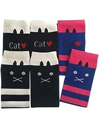 【GLASS FROG】キッズソックス ハイソックス 猫柄 ボーダー にゃー 可愛い 女の子 ネコ 子供用 靴下セット