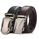 ベルト【二本セット】 メンズ 自動バックル ビジネス 本革 レザー サイズ調整可能 ブラック ブラウン Set 1-black/brown-120cm