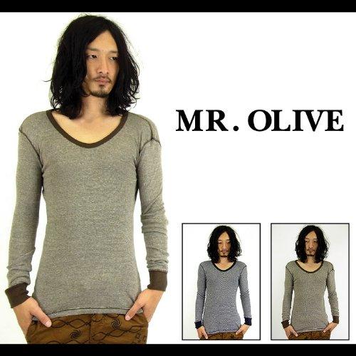 【MROLIVE(ミスターオリーブ)】 SILK×COTTONヴィンテージリブカットソー 日本製 Sサイズ ネイビー